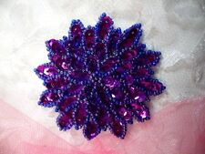 "Purple Sequin Applique Floral Beaded Iron on Patch Crafts DIY 3"" (XR364)"