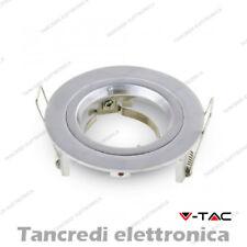 Portafaretto da incasso V-TAC VT-774 per faretti GU10/GU 5.3 rotondo argento