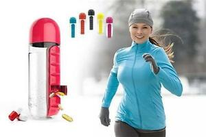 650ml Sport Water Bottle with Built-in Daily 7 Daily Pill Box Organizer