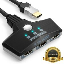 Fosmon 3x1 3 Port HDMI 4K UHD 3D Ready HD Auto Switch Braided Cable HDTV Adapter