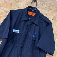 Vintage RED KAP Workwear Work Short Sleeve Shirt Navy Blue USA Size Small S