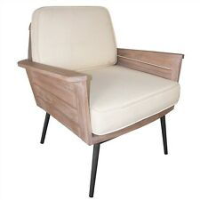 PIMLICO SOLID TEAK & METAL ARMCHAIR - WITH CUSHIONS - WHITEWASHED NATURAL/CREAM