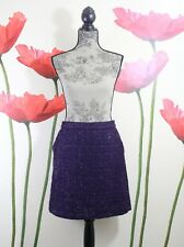 Cynthia Rowley Women's Purple Shiny Tweed Boucle Pockets Pencil Skirt Size 12 US