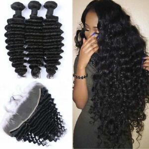 12A BRAZILIAN VIRGIN HUMAN HAIR DEEP WAVE BUNDLES 3/4 WITH 13X4 LACE FRONTAL 1b#