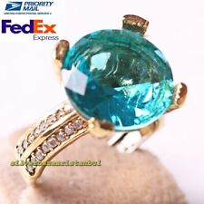 Turkish 925 Sterling Silver Bright Aquamarine Stone Ladies Woman Ring All Size