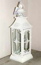 Laterne Glas Metall Windlicht Gartenlaterne Straßenlaterne Weiß 40cm Landhaus