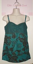 MAURICES ~ Teal Green & Brown Cotton Floral Blouse Sz M * VERY GOOD COND.