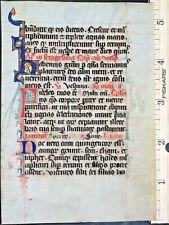 ca.1250 liturgical Manuscript leaf with red&blue initials,one gold-accented