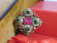 Stone Brooch Weimaraner Rescue Charit Vintage Unsigned Filigree Pink Green Glass