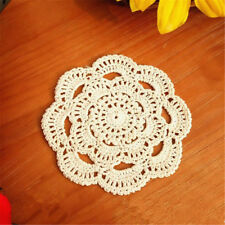 Handmade Round Crochet Cotton Table Cup Mats Placemats Doilies Coasters 16cm Beige