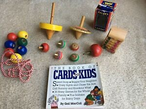 Great LOT Vintage Wooden Spinning Tops Toys Games Home School Fidget Spinners 12