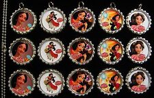 15 Special Elena of Avalor Silver Flat Bottle Cap Necklaces Set 1