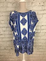 MATALAN - Blue White Short Sleeve Patterned Top - Womens - Size 20