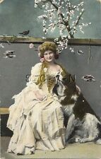 Original 1905-17 French Divided Back PC- Beautiful Woman Holds Dog- St. Bernard