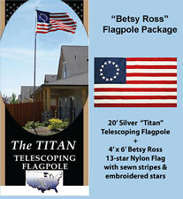 """20' Silver """"Titan"""" Telescoping Flagpole with 4' x 6' Betsy Ross 13-Star Flag"""
