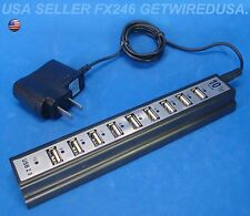 POWERED HIGH SPEED USB HUB 10-PORT DOCK 2.0 POWER STRIP Y ADAPTER T SPLITTER