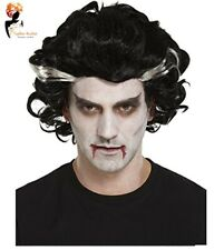 Adult  Vampire Wig Dracula Gothic Todd Hair Streak Halloween Fancy Dress Lot