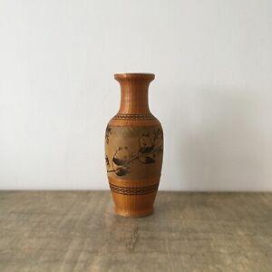 Vintage Ceramic & Woven Bamboo Vase With Panda Design Decorative Boho Tiki