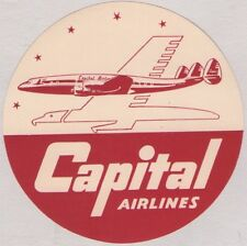 VINTAGE ORIGINAL CAPITAL AIRLINES LUGGAGE LABEL