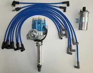 SMALL BLOCK CHEVY Blue Small HEI Distributor +SPARK PLUG WIRES over VC +45K Coil