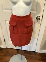 Moth Anthropologie Red & Orange Knubby Knit Pencil Skirt, Size Small