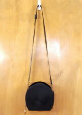SHARIF Black Woven Front Patent Leather Round Zip Closed Shoulder Bag Handbag