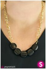 """NEW PAPARAZZI """"DANCING WITH WOLVES"""" BLACK GOLD NECKLACE Vintage HTF"""