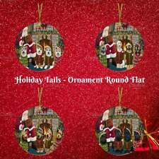 Santa Cozy Fire Holiday Tails Dog Cat Pet Round Flat Christmas Tree Ornament