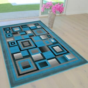 Turquoise/Silver/Gray/Black Rugs 8X10 Geometric Modern Squares 5X7 Area Rug
