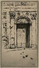 WILKINSON Signed Antique Etching DOORWAY - 1923