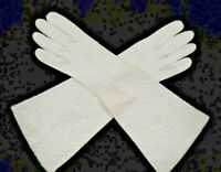 1950s Womens Crescendoe Beaded Elbow Length  Gloves White Cotton Size 7 6212F
