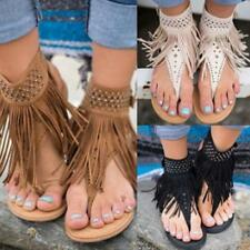 Women Suede Tassel Open Toe Beach Sandals Flats Rhinestones Ankle Strap Shoes