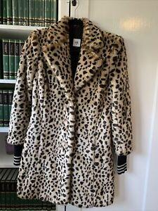 Cabi Josephine Coat XS Faux Fur Leopard Print Removable Cuffs 3727