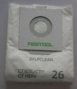 Festool 496187 REUSABLE WITH ZIP  Filter Bag CT CTL CTM 26 with bio bag option