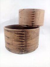 Primitive Set Of 2 Nesting Wooden Grain Dry Measure Round Pantry Box No Lids