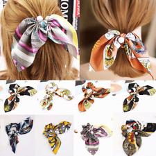 Women's Bowknot Hairband Silk Hair Scrunchies Pearls Ponytail Holder Hair Tie