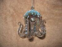 Octopus Glass Ornament - Beads & Jewel Accents Beach Ocean Coastal Sea Tropical