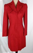 Kenneth Cole Red Trench Coat Sz S Tailored Fit Fully Lined No Belt