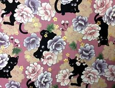 NT61 Neko Kitty Black Cat Japanese Asian Kitten Cotton Quilt Fabric