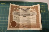 1920 Cecil Oil & Gas Company 25 Shares Capital Stock Certificate - No. 16