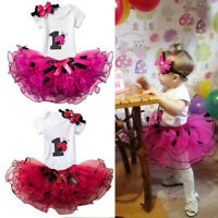 3pcs 1st Birthday Party Baby Girl Dress Outfits Dots Romper Headband Tutu Sets