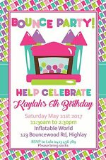 Bounce Party Invitation Jumping Castle Inflatable Party Invite Girls Party Jump