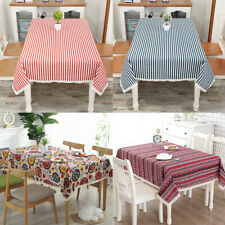 Rectangle Bohemian Printed Tablecloth Linen Lace Kitchen Dining Table Cover