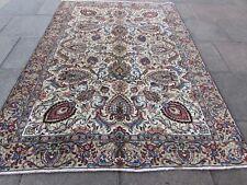 Vintage Worn Hand Made Traditional Oriental Wool White Large Carpet 267x190cm