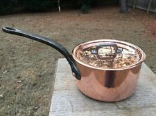 "Dehillerin 2.8mm French 5.75"" Mauviel Copper Sauce Pan Tin Lined W/Stainless Lid"