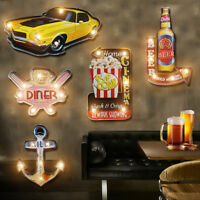 Vintage LED Tin Sign Wall Decor Metal Beer Bar Plaque Pub Poster Retro Decor New