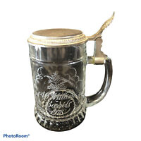 Vintage Budweiser beer 40 Million Barrels 1978 Glass Lidded Stein West Germany !