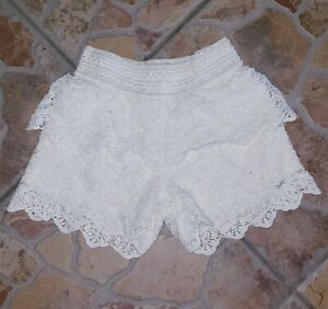 JUSTICE Girls Size 10 Cream Ivory Crochet Shorts Layered Tiered EUC Shorts