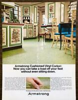1967 Armstrong Cushioned Vinyl Floors Print Ad Floral Bamboo Kitchen Decor