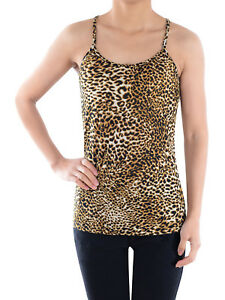 Sexy Casual Womens Brown Leopard Print Casual Spaghetti Racerback Vest Tank Top